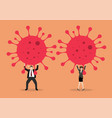 businessman and woman struggling to carry virus vector image vector image