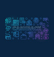 cashback outline colored cash vector image