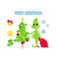 christmas character set xmas tree stockings vector image vector image