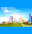 city in sunshine beautiful skyline with sunlight vector image