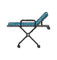 color crayon stripe cartoon medical stretcher bed vector image vector image