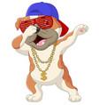 cute dog dabbing dance wearing sunglasses hat vector image