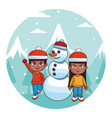 cute winter children cartoon vector image