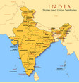 detailed map of india asia with all states and vector image vector image
