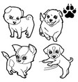 dog cartoon and dog paw print coloring book vector image vector image