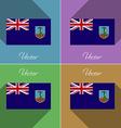 Flags Montserrat Set of colors flat design and vector image vector image
