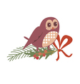 Floral design with owl vector image vector image