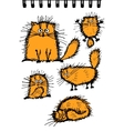 Fluffy orange cats collection sketch for your vector image vector image