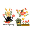 hello spring collection vector image