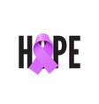 hope purple ribbon realistic banner vector image