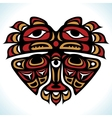 indian pattern in shape heart vector image