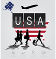infographic silhouette people in airport vector image