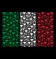 italian flag pattern of martini glass items vector image