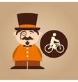 man hipster ridding bike icon design vector image vector image
