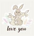 mom rabbit hugs her children and around the grass vector image