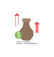 money bag dollar growth stock flat color icon vector image vector image