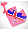 origami paper i love iceland heart card vector image