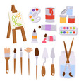 painting art tools palette vector image vector image
