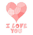 patchwork heart and text vector image vector image