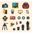 Photographer kit with camera elements flat vector image