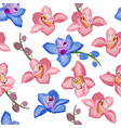 Pink and blue orchid floral seamless pattern