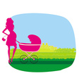 pregnant woman pushing a stroller vector image vector image