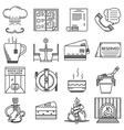 Restaurant black line icons collection vector image vector image
