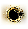 Round Gold Banner with Black Stars vector image vector image