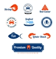 Seafood labels icons set vector image