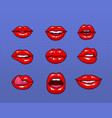 set of different female red lips fashion patches vector image vector image