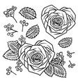 set of hand drawn doodle rose heart shape flowers vector image