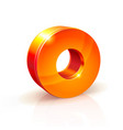 shiny orange red 3d number 0 vector image vector image
