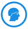 Soldier Helmet Rounded Icon Rubber Stamp vector image vector image