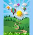 sunlight on cloud with hot air vector image vector image