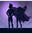 Superhero Couple Silhouettes vector image vector image