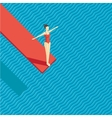 swimming pool with a diving board girl jumping vector image