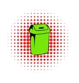 Trash can icon comics style vector image