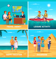 travel agency 2x2 design concept vector image vector image
