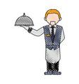 waiter man cartoon vector image vector image