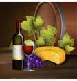 Wine bottle and oak barrel background vector image vector image