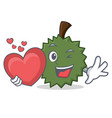 with heart durian mascot cartoon style vector image vector image