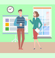woman and man at office workplace colleagues vector image vector image