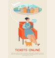 woman sitting in a chair buys tickets online vector image