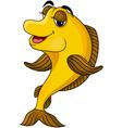 funny yellow cartoon fish vector image
