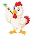 a cute rooster holding paint brush vector image