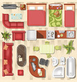 apartment flat furniture layout top view vector image