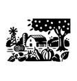 apple tree pumpkin and eggplant grow on a bed vector image vector image