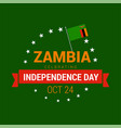 banner or poster of zambia independence day vector image vector image