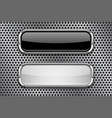 black and white glass buttons with metal frame on vector image vector image