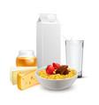 breakfast cereals milk realistic composition vector image